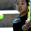 Fairview's Katie Li returns the ball during her match against ThundeRidge's Sam Rusk in the 2011 5A State Tennis at the Gates Tennis Center in Denver, Colorado May 13, 2011.  CAMERA/Mark Leffingwell