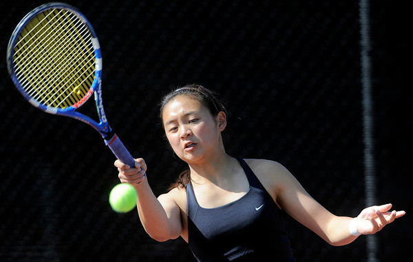 Fairview's Monica Li returns the ball during her match against Heritage's Kaitlin Bos in the 2011 5A State Tennis at the Gates Tennis Center in Denver, Colorado May 13, 2011.  CAMERA/Mark Leffingwell