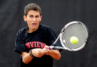 Andrew Pollack of Fairview, plays in the #3 doubles match with Tommy Mason against Cherry Creek. For more photos of state tennis, go to www.dailycamera.com. Cliff Grassmick / October 15, 2011