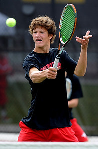 Nick Blanco of Fairview, returns a shot in the #4 doubles match. He and his  partner, Ben Krahenbuhl, won the match against Cherry Creek. For more photos of state tennis, go to www.dailycamera.com. Cliff Grassmick / October 15, 2011