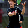 "Nick Blanco of Fairview, returns a shot in the #4 doubles match. He and his  partner, Ben Krahenbuhl, won the match against Cherry Creek.<br /> For more photos of state tennis, go to  <a href=""http://www.dailycamera.com"">http://www.dailycamera.com</a>.<br /> Cliff Grassmick / October 15, 2011"
