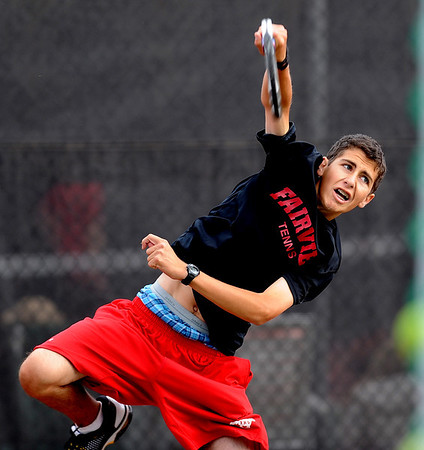 """Andrew Pollack of Fairview, plays in the #3 doubles match with Tommy Mason against Cherry Creek.<br /> For more photos of state tennis, go to  <a href=""""http://www.dailycamera.com"""">http://www.dailycamera.com</a>.<br /> Cliff Grassmick / October 15, 2011"""