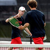 "Ben Krahenbuhl, left, of Fairview, and his  partner, Nick Blanco, won the match in  #4 doubles against Cherry Creek.<br /> For more photos of state tennis, go to  <a href=""http://www.dailycamera.com"">http://www.dailycamera.com</a>.<br /> Cliff Grassmick / October 15, 2011"