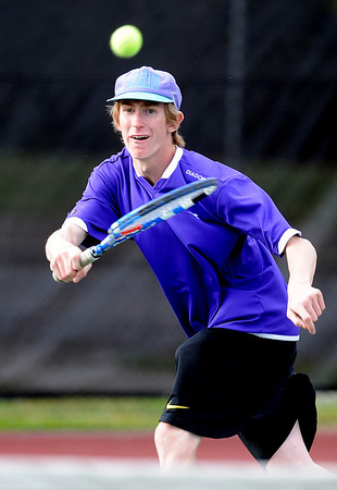 """Harrison Vivas of Boulder High plays in the #2 doubles match with Levi Chandler.<br /> For more photos of state tennis, go to  <a href=""""http://www.dailycamera.com"""">http://www.dailycamera.com</a>.<br /> Cliff Grassmick / October 15, 2011"""