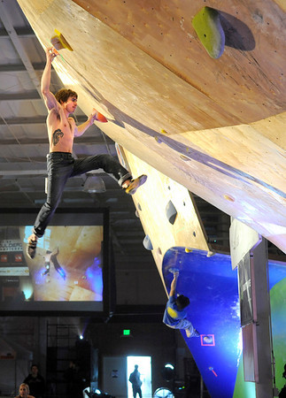 """Boulder climber  Daniel Woods shows his bouldering skills on Saturday, Feb. 12, at the 2011 ABS 12 National Championships at 3550 Frontier Ave. in Boulder. For more photos and a video of the event go to  <a href=""""http://www.dailycamera.com"""">http://www.dailycamera.com</a><br /> Jeremy Papasso/ Camera"""