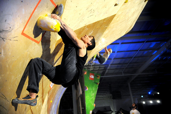 "Boulder climber Nicholas Sherman shows his climbing skills on Saturday, Feb. 12, at the 2011 ABS 12 National Championships at 3550 Frontier Ave. in Boulder. For more photos and a video of the event go to  <a href=""http://www.dailycamera.com"">http://www.dailycamera.com</a><br /> Jeremy Papasso/ Camera"