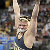 Jesse Carlson, Legacy,  celebrates after pinning Justin Frazer, Pomona, to win the 152lb State 5A Championship  at the Pepsi Center on Saturday.<br /> February 19, 2011<br /> staff photo/David R. Jennings