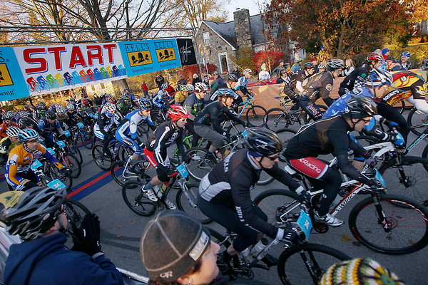 Record-Eagle/Keith King<br /> Riders take off from the starting line in Kalkaska as they travel along South Walnut Street Saturday, November 5, 2011 during the 22nd annual Iceman Cometh.