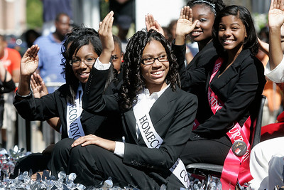 Chastain Middle School homecoming court waves to the crowd.