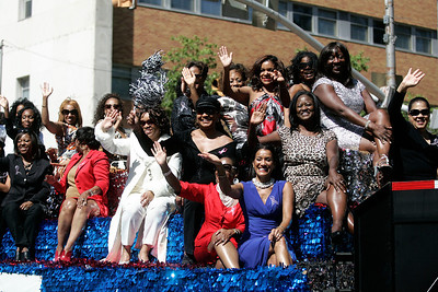 """Jackson State University """"Sonic Boom of the South"""" former J-Settes wave to the crowd."""