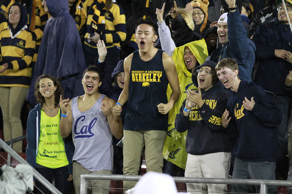 Cal fans celebrate during the Cal vs. Stanford football game in Stanford, Calif., on Saturday, November 19, 2011.