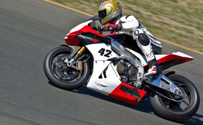 SONOMA, CA - JULY 8: Sport bike rider racing on Z2 Track Days on July 8, 2011 at the Infineon International Raceway in Sonoma, CA.