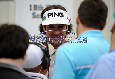 6/24/2011 MIke Orazzi | Staff Bubba Watson talks to members of the media at TPC River Highlands during the 2011 Travelers Championship on Friday afternoon.