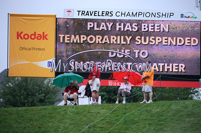 6/23/2011 Mike Orazzi | Staff A rain delay at the 2011 Travelers Championship in  Cromwell, on Thursday, June 23, 2011.