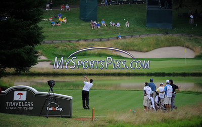 6/24/2011 MIke Orazzi | Staff Spencer Levin tees off on number 16 at TPC River Highlands during the 2011 Travelers Championship on Friday afternoon.