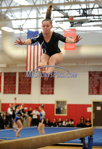 3/5/2011 Mike Orazzi | Staff Southington's Toni Penta during the CIAC 2011 Gymnastics Open meet at Pomperaug's High School on Saturday.