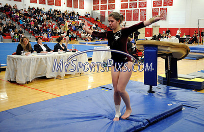 3/5/2011 Mike Orazzi | Staff Bristol Central's Kaley Beauchamp during the vault competition at the CIAC 2011 Gymnastics Open meet at Pomperaug's High School on Saturday.