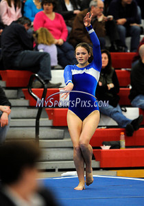 3/5/2011 Mike Orazzi | Staff Plainville High School's Alyssa Mills at the CIAC 2011 Gymnastics Open meet at Pomperaug's High School on Saturday.