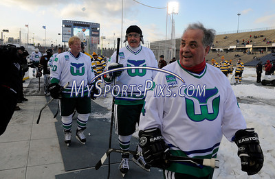 2/19/2011 Mike Orazzi | Staff Saturday's matchup between the Hartford Whalers alumni and the Boston Bruins alumni at Rentschler Field in East Hartford on Saturday evening.