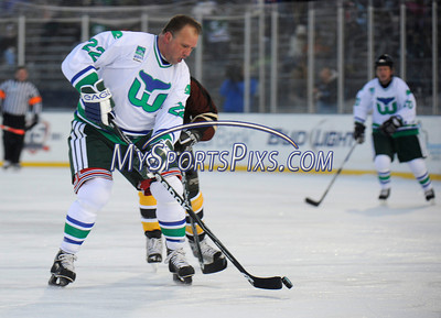 2/19/2011 Mike Orazzi | Staff Hartford Whalers alumni Mark Janssens (22) during Saturday evening's game with the Boston Bruins alumni at Rentschler Field in East Hartford.
