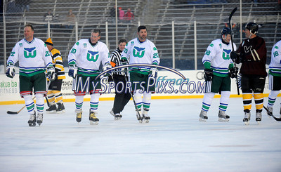 2/19/2011 Mike Orazzi | Staff Hartford Whalers alumni during Saturday evening's game with the Boston Bruins alumni at Rentschler Field in East Hartford.