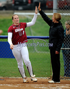 4/20/2011 Mike Orazzi | Staff UMass' Sara Plourde (9) gets introduced against UConn in Storrs on Wednesday afternoon.