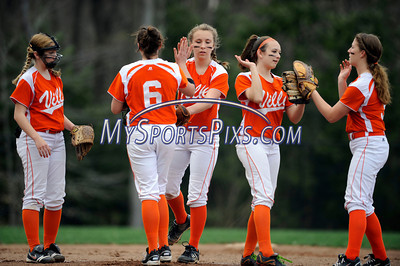 4/27/2011 Mike Orazzi | Staff Members of the Terryville High School softball team during Wednesday's game with Lewis Mills at  THS.
