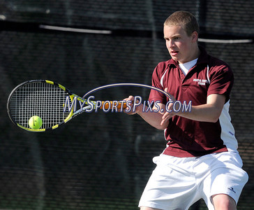 4/26/2011 Mike Orazzi | Staff Bristol Central's Tyler Bodley during Tuesday's match with Hall.