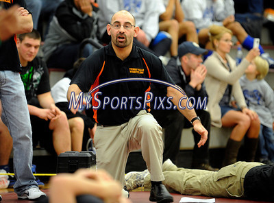 1/8/2011 Mike Orazzi    Staff Terryville High School Wrestling coach Peter Veleas during the Bristol Central Invitational on Saturday.