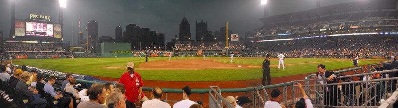PNC Park in Pittsburgh for game between Los Angeles Dodgers and Pittsburgh Pirates on 5/12/2011. The weather is cloudy and we hear thunder.