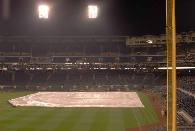 The Los Angeles Dodgers were scheduled to play the PIttsburgh Pirates on 5/12/2011. After two innings, the rains came. After a rain delay of two hours and twenty minutes, the game was called.