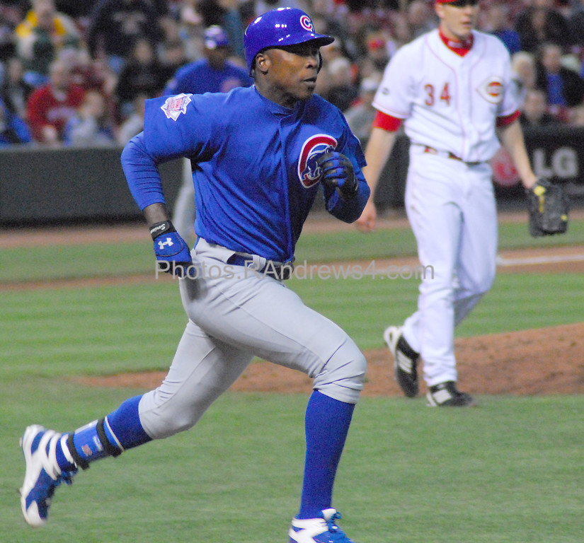 Alfonso Soriano was out at first after hitting a Homer Bailey pitch on the ground as the Chicago Cubs visit Cincinnati on 5/16/2011.