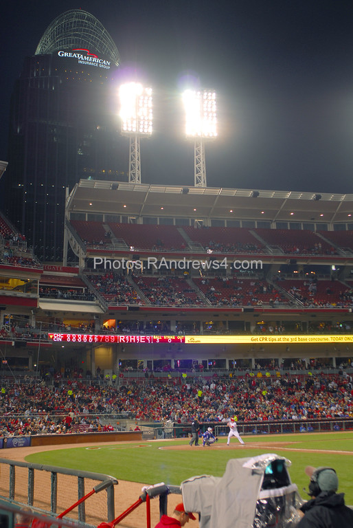 The Great American building looms over Great American Ballpark as the Chicago Cubs visit Cincinnati on 5/16/2011.