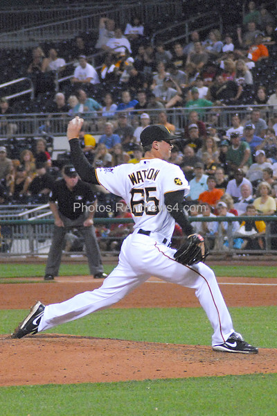 Pittsburgh Pirates relief pitcher Tony Watson delivers the pitch.