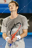 2011 Australian Open Tennis - Andy Murray practicing under a closed roof at Rod Laver