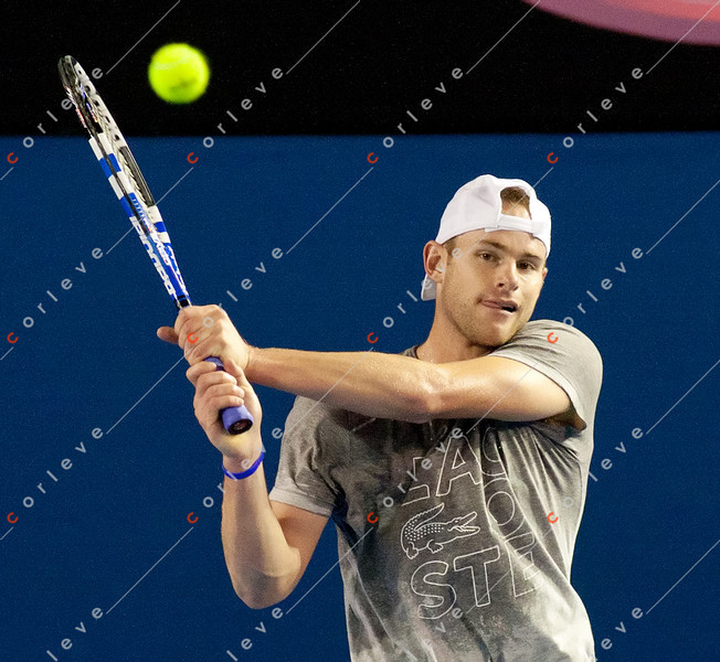 2011 Australian Open Tennis - Andy Roddick practicing under a closed roof at Rod Laver Arena