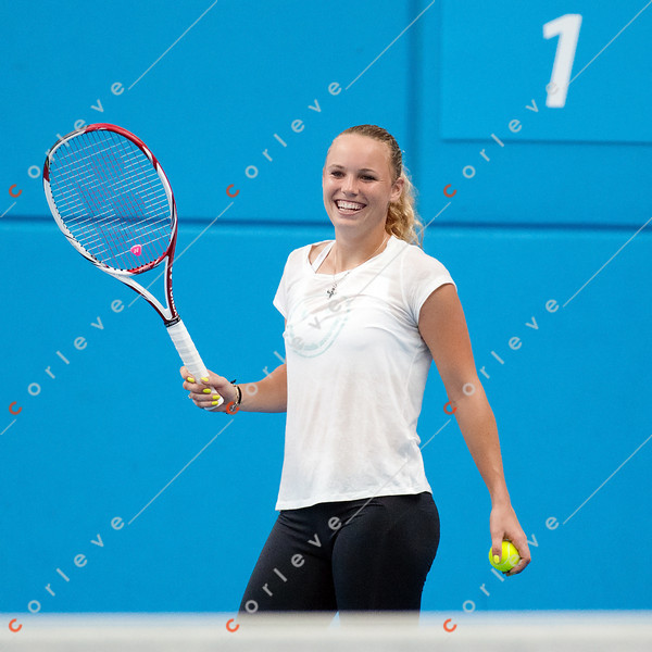 2011 Australian Open Tennis - Caroline Wozniacki practices with Fernando Verdasco indoors at Melbourne Park - photographer: Mark Peterson / corleve