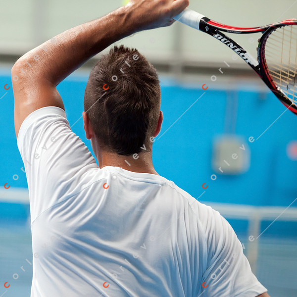 2011 Australian Open Tennis - Caroline Wozniacki practices with Fernando Verdasco indoors at Melbourne Park - photographer: Mark Peterson / corleve
