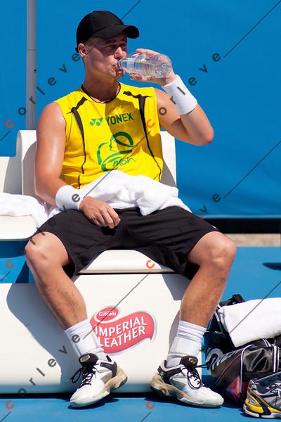 2011 Australian Open Tennis- Lleyton Hewitt practicing on Margaret Court