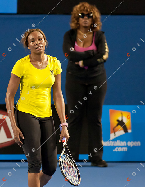 2011 Australian Open Tennis - Venus Williams practicing under a closed roof at Rod Laver