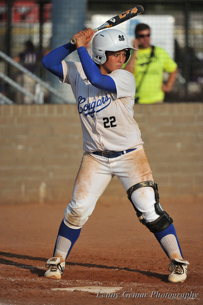 After a 1-2-3 bottom of the 5th, Cougar #22 Theresa Houle takes the plate.