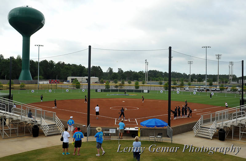 Field 1, Gulf Shores Sports Complex.  Under mostly-cloudy skies, CSUSM takes their on-field practice just prior to game time.