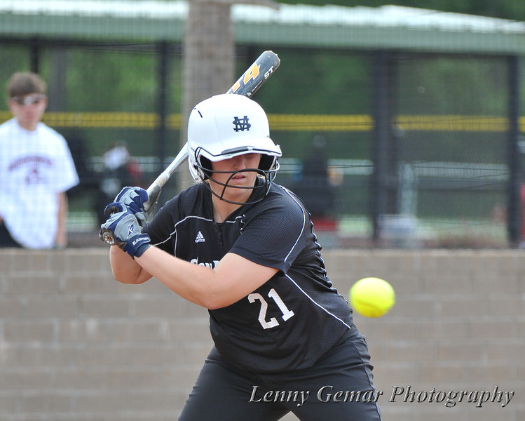 Top of the 2nd inning, #21 Alyssa Dronenburg watches a ball fly by... for a walk.