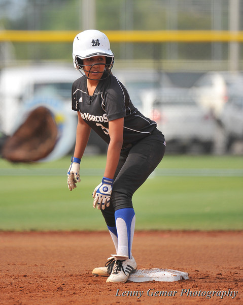 #3 Heavin-lee Rodriguez preparing to run from 2nd base.