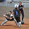On Kaitlin McGinley's single to short, #9 Patricia Banda runs home to score CSUSM's 3rd run.