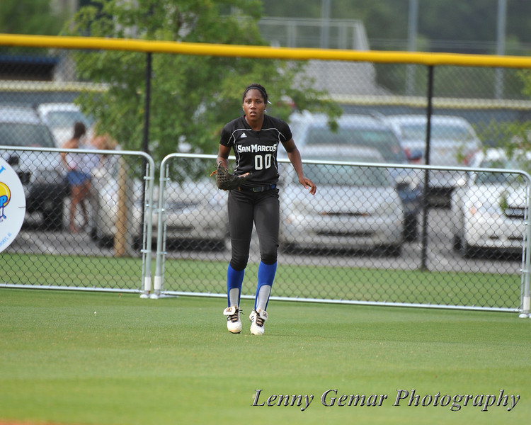 #00 Derrisha Lacey positioned in right field.
