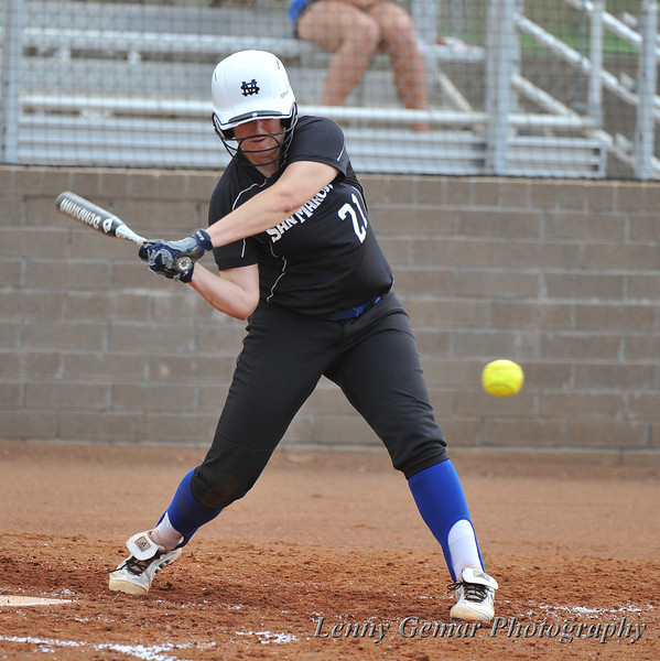 Her last at bat prematurely halted, #21 Alyssa Dronenburg once again takes the plate.