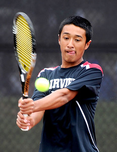 Ignatius Castelino of Fairview plays in the finals of the no. 2 singles on Saturday in Denver. For more photos from state tennis, go to www.dailycamera.com. Cliff Grassmick  / October 13, 2012