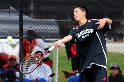 Kevin Chen of Fairview, plays in the finals of the no.1 doubles with Tommy Mason. For more photos from state tennis, go to www.dailycamera.com. Cliff Grassmick  / October 13, 2012