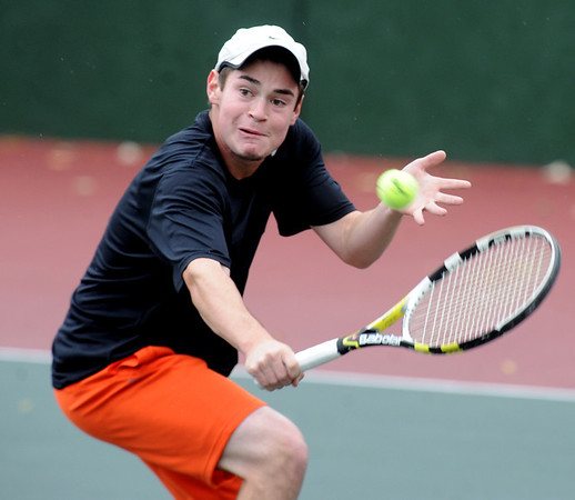 "Spencer Weinberg of Grand Junction plays in the finals of the No. 1 singles on Saturday.<br /> For more photos from state tennis, go to  <a href=""http://www.dailycamera.com"">http://www.dailycamera.com</a>.<br /> Cliff Grassmick  / October 13, 2012"